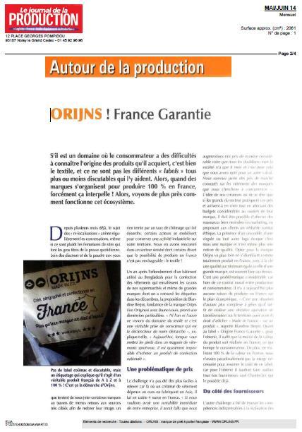Le journal de la production