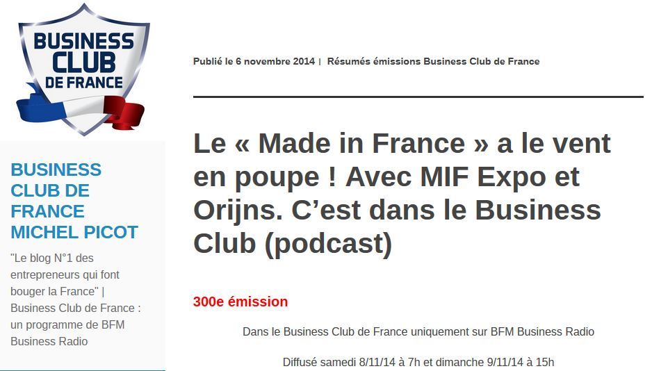 BFM Business Radio_Business Club de France_2014-11-08